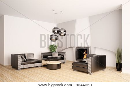 Modern Living Room With Fireplace Interior 3D