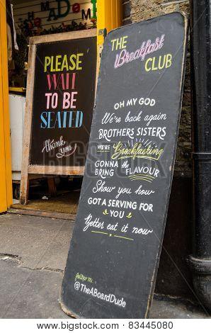 Breakfast Club sign, Hoxton