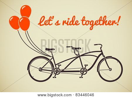 Tandem bicycle with balloons