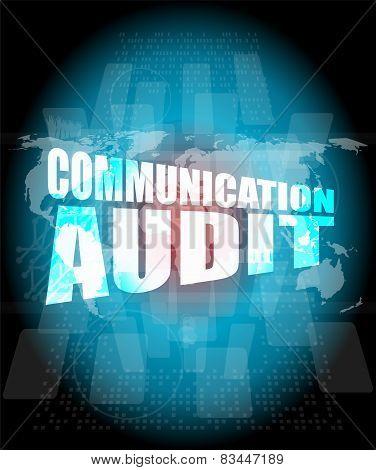 Management Concept: Communication Audit Words On Digital Screen