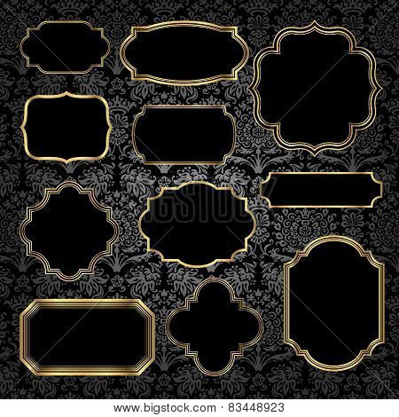 Gold Vintage Frames on Damask Background