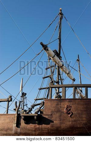 Caravel, Detail Of Ropes, Ladder And Folded Sails