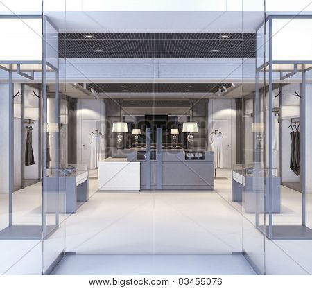 Shop with glass windows and doors