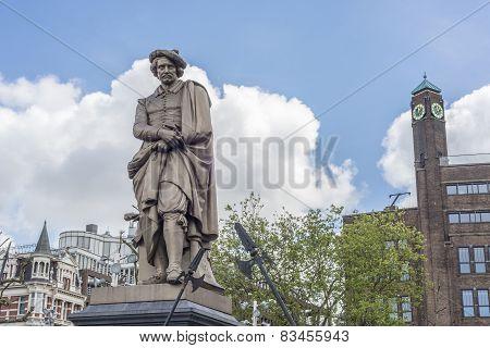 Rembrandt Statue In Amsterdam, Netherlands