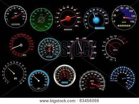 Various speedometers set