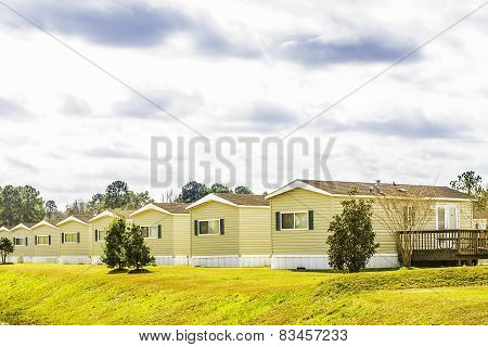 Row Of Identical Mobile Homes
