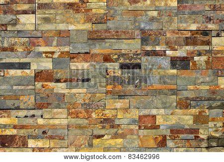 Modern Slate Bricks Wall For Background