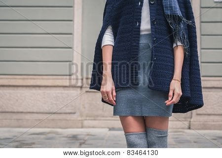 Detail Of A Beautiful Girl Posing In The City Streets