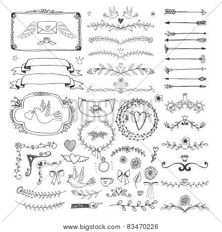 Hand drawn floral page elements. Swirls, ribbons, frames, arrows, dividers, banners and curls