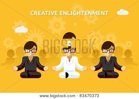 Creative enlightenment. Business guru creative idea concept