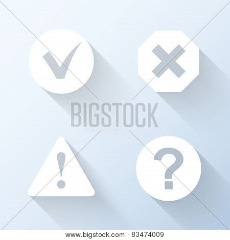 Flat Information Icons With Long Shadows. Vector Illustration