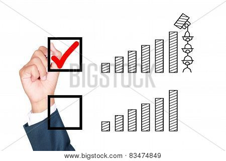 motivation temwork wish result growth better solution for success by businessman tick box on white background poster