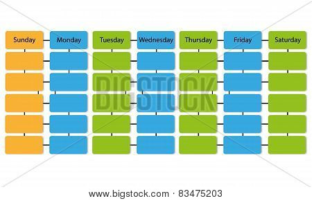 empty week schedule infographic vector on white background poster