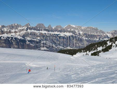 Ski Slope And Churfirsten