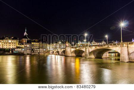 Mittlere Bridge In Basel At Night - Switzerland