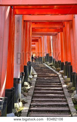 Kyoto Japan - Fushimi-Inari Shrine torii gates. Japanese landmark. poster