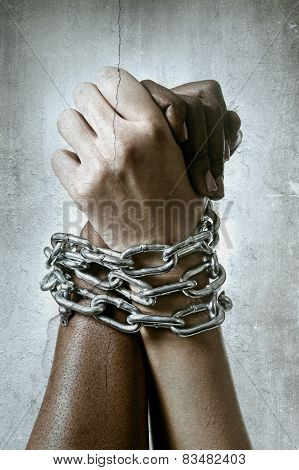 White Race Hand Chain Locked Together With Black Ethnicity Woman Multiracial Understanding