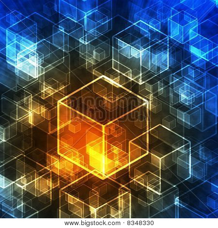 Abstract 3D Cubes In Technology Style.