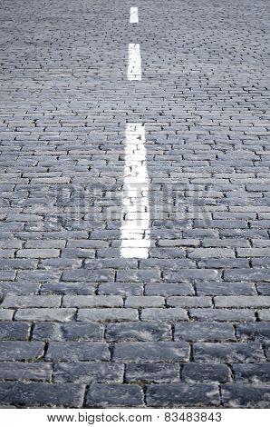 White strip on a stone blocks.