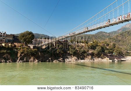 Laxman Jhula Bridge Over Ganges River