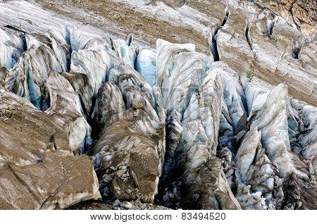 Old rugged glacier huge cracks