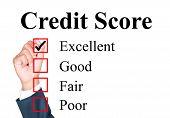 Credit score evaluation form tick excellent by businessman poster