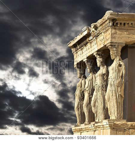 Acropolis of Athens Greece, Caryatids women statues