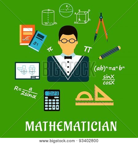 Mathematician or teacher with education objects