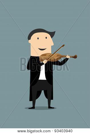 Cartoon violinist in black tailcoat