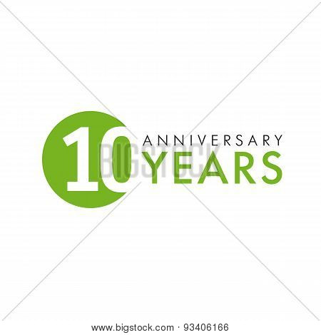 10 years old round logo. Anniversary year of 10 th vector banner numbers. Birthday greetings circle celebrates. Celebrating digits. Colored figures of ages.