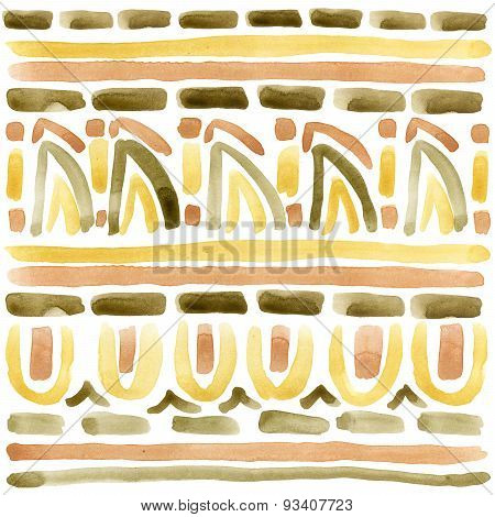 Ethnic ornament. watercolor background