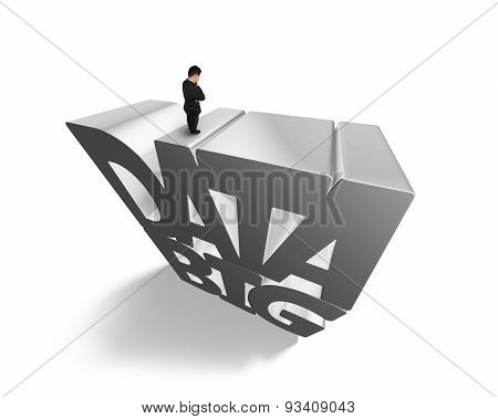 Big Data 3D Gray Word With Businessman Standing On Top