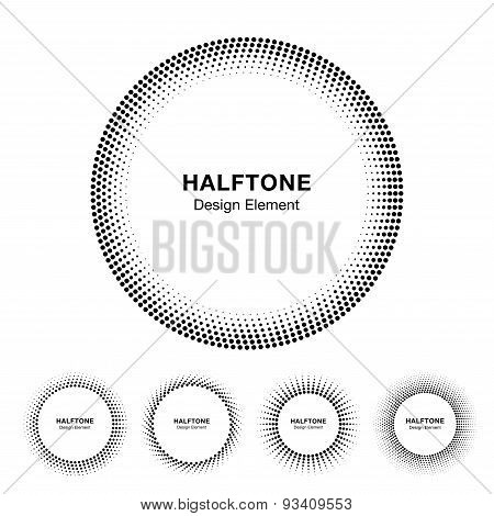 Set of Black Abstract Halftone Circle Frame Logo