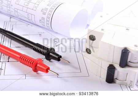 Cables Of Multimeter And Electric Fuse With Electrical Diagrams