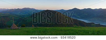 Sunset panoramic landscape of Carpathians mountains, Ukraine
