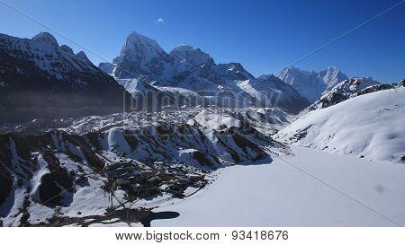 View Of Gokyo, Ngozumba Glacier And Cholatse