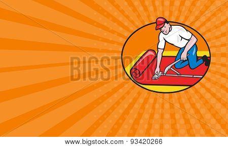 Business Card Carpet Layer Fitter Worker Cartoon