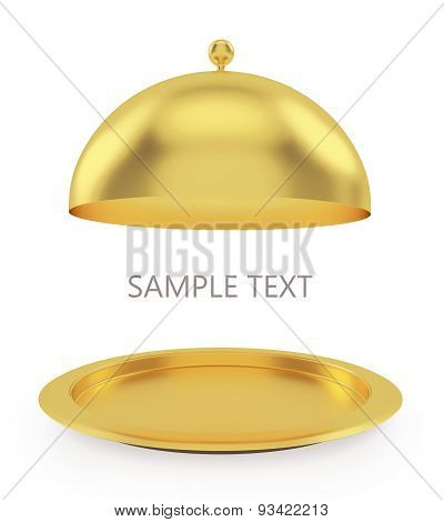 Isolated gold open tray on a white background.