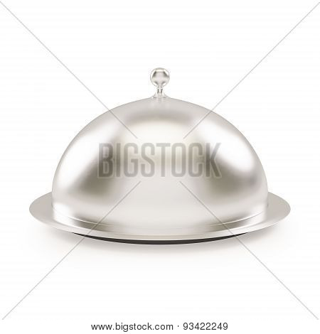close silver platter or tray with space to place object isolated on white background.