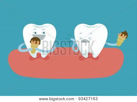 Teeth are eating ice-cream but tooth is so sensitive