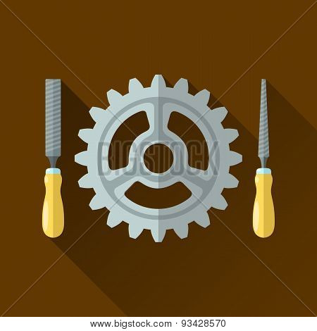 File Hand Tools With Wooden Handle Around Gear Wheel