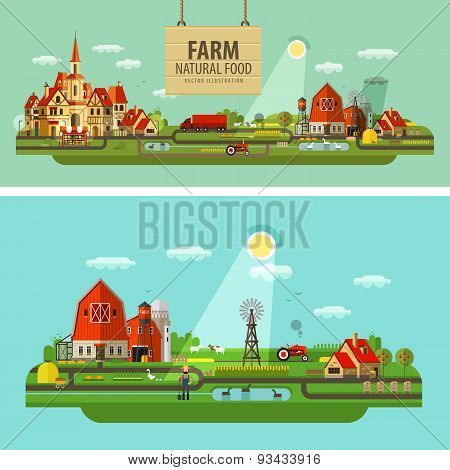 Farm and city. Set of elements - tractor, farmer, barn, truck, house, building, hay, harvest, windy