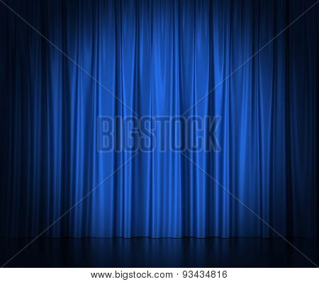 Blue silk curtains for theater and cinema spotlit light in the center.