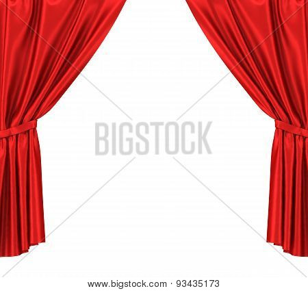 Red silk curtains with garter isolated on white background.