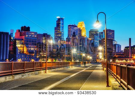 Downtown Minneapolis, Minnesota At Night Time