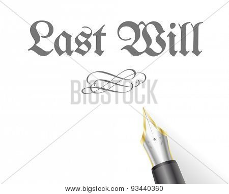 illustration of a Last Will Letter with fountain pen
