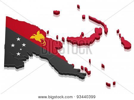 detailed illustration of a map of Papua New Guinea with flag, eps10 vector