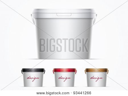 Vector plastic bucket illustration. Ideal for your mock up. Elements are layered separately in vector file. Color lids are just two global colors. Easy editable. Global CMYK colors.