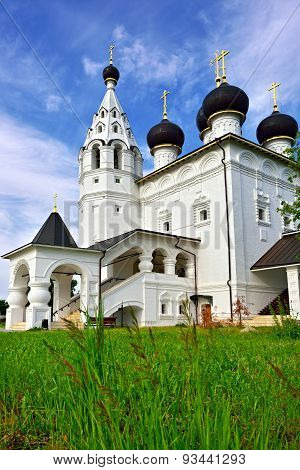 Russia Moscow region city of Vereya. Spassky orthodox Monastery. Church of the Entry of the Lord into Jerusalem in the Red village. Classical russian medieval architecture. 1667 poster