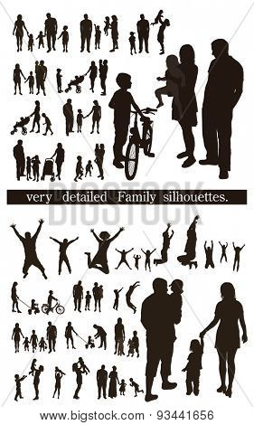 Set of very detailed Family Silhouettes:  Men's, Women's and Children. Jumping and walking.